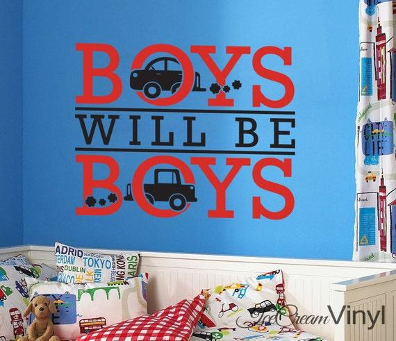 Boy Wall Decal Boys Will Be Boys Wall Decal for Playroom Nursery Car Truck Vinyl Decal Boys Room Childrens Decor