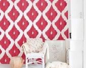 Self adhesive vinyl temporary removable wallpaper, wall decal - Ikat pattern  - 041b