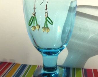 Earrings with yellow cherries with silver coloured hooks