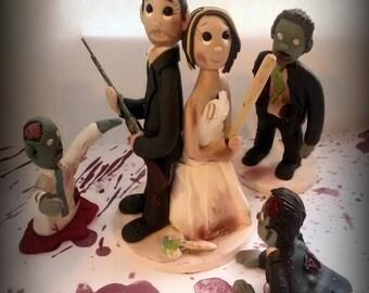 """Custom Zombie """"Walking Dead""""  Wedding Cake Topper"""