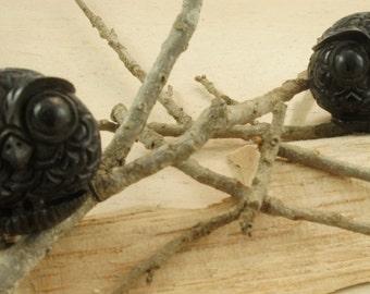 "SALE Black Ebony Wood Perched Owl Plugs (Pair) (0G) 10mm (00G) 12mm (1/2"") 14mm (9/16"") 16mm (5/8"") 18mm (11/16"") 20mm (13/16"") 22mm (7/8"")"