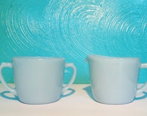Vintage Fire KingVintage Turquoise Blue Cream and Sugar Bowl Set, 1950s by Anchor Hocking