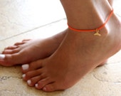 Orange Anklet - Multistrand Ankle Bracelet - Gold Anklet - Foot Jewelry - Foot Bracelet - Chain Anklet - Summer Jewelry - Beach Jewelry