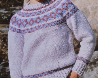 Knitted Throws Free Patterns : Round yoke sweater Etsy