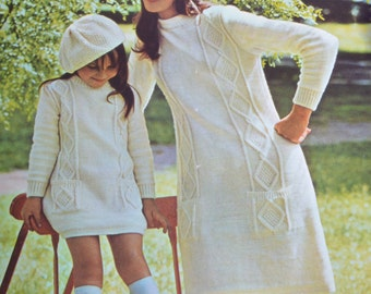 PDF mother daughter cable dress beret six sizes knitting pattern pdf INSTANT download vintage retro pattern only 1960s