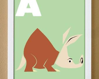 alphabet letter A, aadvark, custom colors, alphabet art, nursery decor, kids art, safari nursery, 4X6, 5X7, 8X10