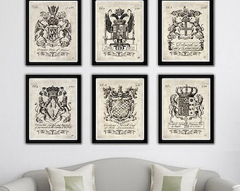 Heraldry coat of arms art prints.Classic 18th century family crests. A collection of six art prints.Buy 4 get 2 FREE!