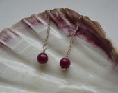 Faceted Ruby Beads Wire Wrapped on Sterling Silver Chain Earrings with Sterling Silver Ear Wires.