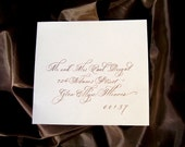 Wedding Calligraphy hand lettered in Flourished script for invitations, save the dates, envelope addressing, place cards and seating charts.