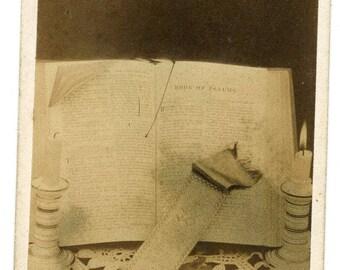 1870s Hebrew Book of Psalms Antique Carte de Visite Victorian CDV Bible