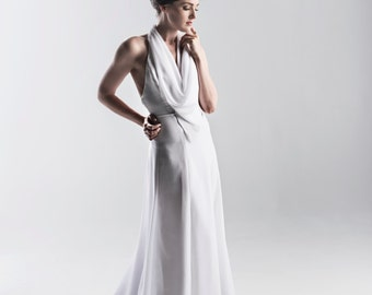 1920s Inspired Halter Wedding Dress in White or Ivory - Couture Wedding Gown