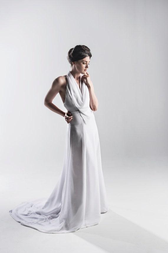 Items similar to 1920s inspired halter wedding dress in for 1920s inspired wedding dresses