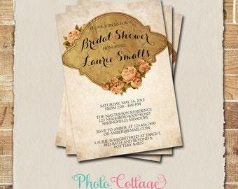 Vintage Bridal Shower Invitation, Roses Invitation, Flower Invitations, Bridal Shower Invites, Invitation, BS123