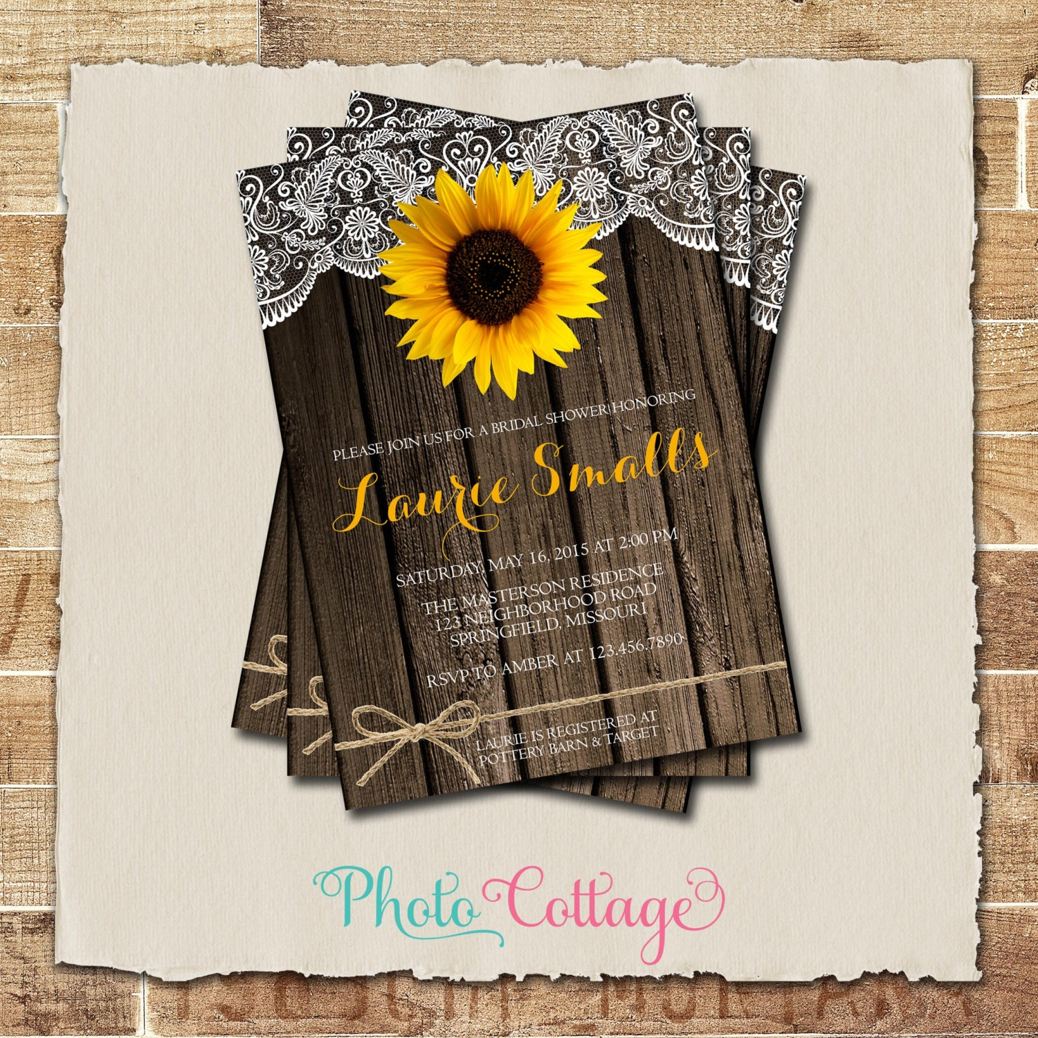 sunflower bridal shower invitation rustic wood and lace. Black Bedroom Furniture Sets. Home Design Ideas