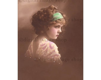 Girl Digital Image Pretty Young Girl Curly Hair Headband Early 1900s Vintage Postcard Image Instant Download PC18