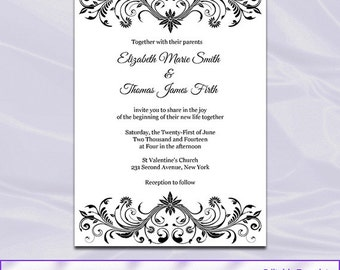 Black White Wedding Invitations Template, Diy Printable Elegant Shower  Birthday Party Invites, Editable Text