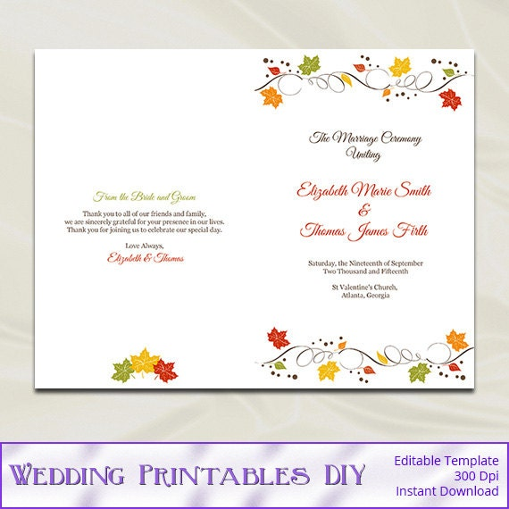 half fold wedding program