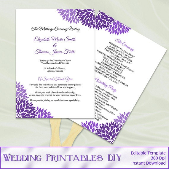 Wedding program fan template diy purple by weddingprintablesdiy for Diy wedding program fan template