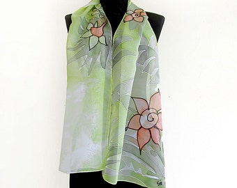 Floral scarf paint by hand . Long hand painted silk scarf with flowers and plants . Batik scarf  in green and orange .