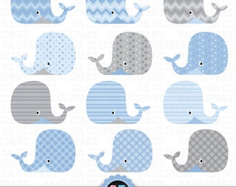 "Whale Clip Art, ""WHALES CLIP ART"" set, Blue Grey Baby Whale Digital Clipart printables, invitations, digital scrapbooking Anm013"