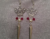 Crown & Sword earrings, Games of Thrones style, Silver plated, Swarovski red crystal, pearl and spike