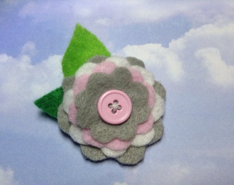 Pink and Grey and White Felt Flower Hair Clip