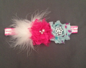 Fancy Princess Bow with Shabby Chic Roses, Feathers, and Rhinestons