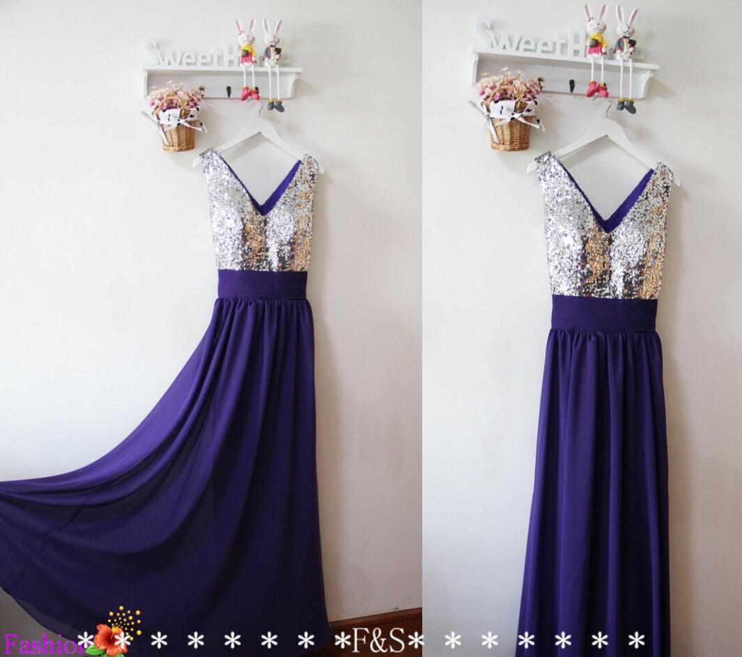 Purple Sequin Bridesmaid Dress y Purple Evening Prom