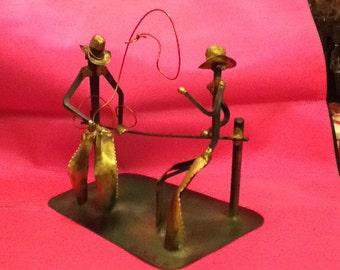 Ron Derlain Artist's Western Cowboys Table-top Metal Sculpture - C1973