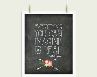 Everything You Can Imagine Is Real Pablo Picasso Chalkboard Shabby Chic Digital Print Instant Art INSTANT DOWNLOAD
