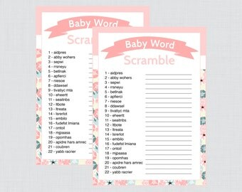 Baby Shower Word Scramble Game in Floral Print - Printable Instant Download