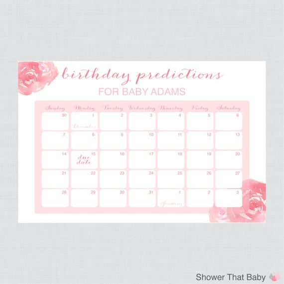 baby birthday predictions baby shower calendar birthday guess the