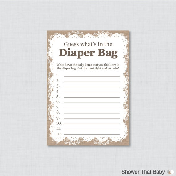 Burlap And Lace Baby Shower Diaper Bag Game Guess What 39 S