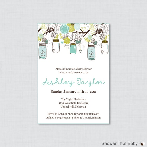 mason jar baby shower invitation printable or printed invite blue
