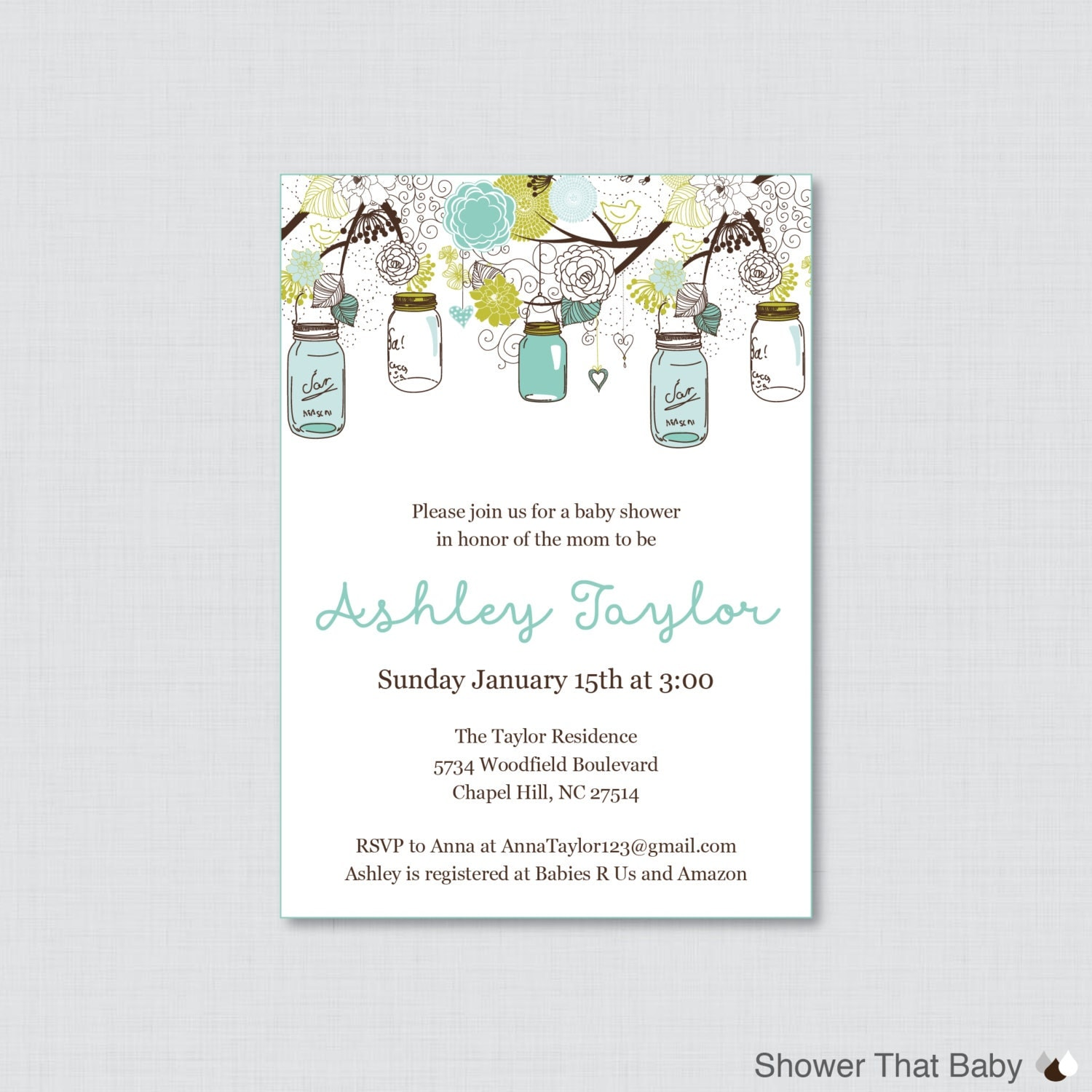 mason jar baby shower invitation printable or printed invite
