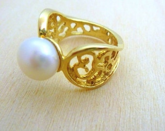 Pearl Ring -GOLD Filled ring ,gift for her birthstone ring gemstone ring