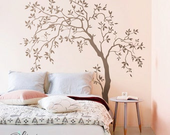 Large Baby nursery   Wnd blowing Tree vinyl wall decal, decoration tree sticker  -NT022
