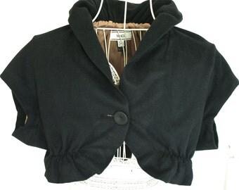 Chi jacket / Shrug / Bolero / Vest women in black color. vintage