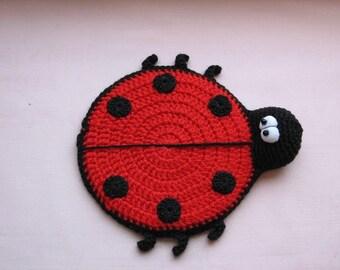 ladybug - crochet coaster