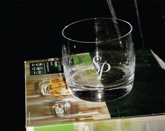 Crystal Double Old Fashion Glasses Set of 4 Custom Deep Etched