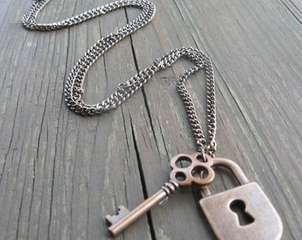 Artisan Copper Lock and Key Necklace