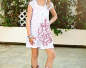 """Ego Girl Outfitter Kids Burnout Tunic T Shirt Casual Dress (White), Summer Pink Nautical Floral """"Hibiscus Flower Rope Anchor"""""""