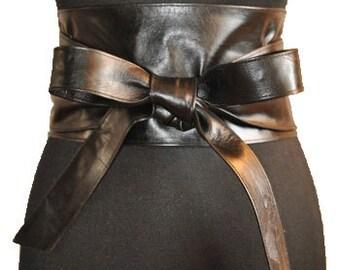Black obi belt Lether obi belt Large obi belt Corset belt