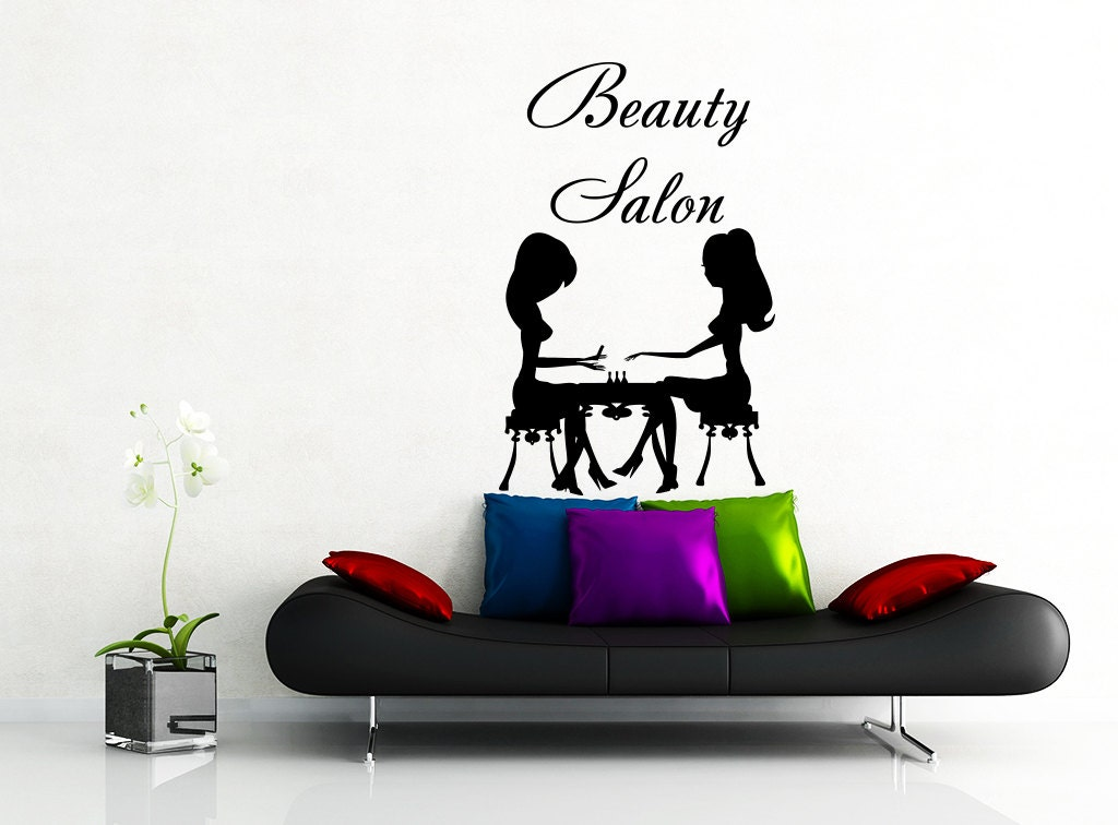 wall decal beauty salon hair salon fashion girl woman by. Black Bedroom Furniture Sets. Home Design Ideas