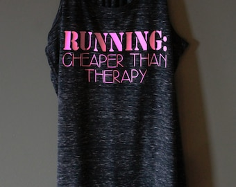 Running: Cheaper Than Therapy Tank - Marble Black - Light Pink Text