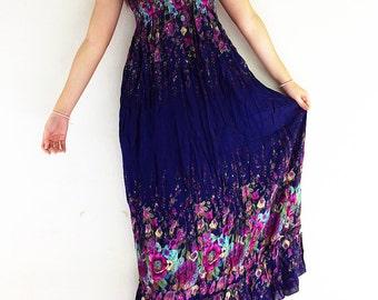 Women Maxi Dress Gypsy Dress Boho Dress Hippie Dress Summer Beach Dress Long Dress Party Dress Clothing Flower Printed Navy blue (DL5)