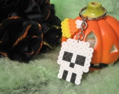 White Skull KEYCHAIN with Candy Corn // Spooky Creepy Cute HALLOWEEN Perler Beads Accessories