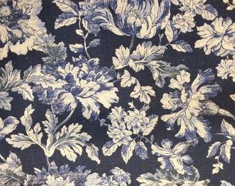 French Country Blues Floral Fabric - Upholstery Fabric By The Yard