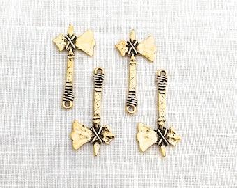 4 pcs, Tomahawk Axe Charm, Arrowhead, Gold Charm for Jewelry, Charm Supply, A0132