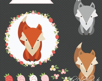 SALE, Fox Clipart, Flower Clipart, Digital Flower, Floral Clipart, Flower Vector, Animal Clipart, Flower Wreath, Fox Vector, Nursery Clipart